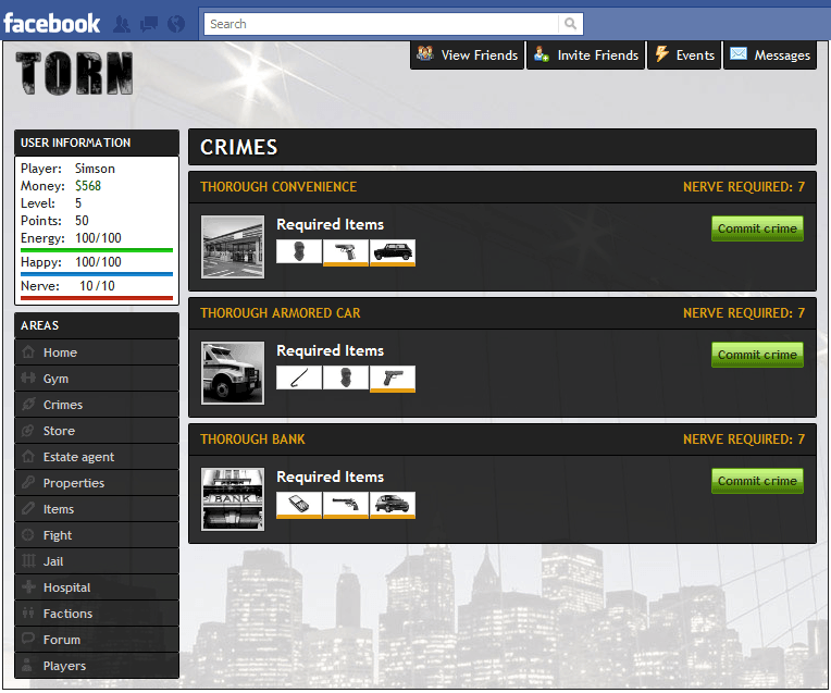 Torn City on Facebook - Screen shot of crimes